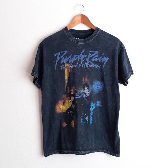 Prince Purple Rain Acid Wash Graphic T-Shirt